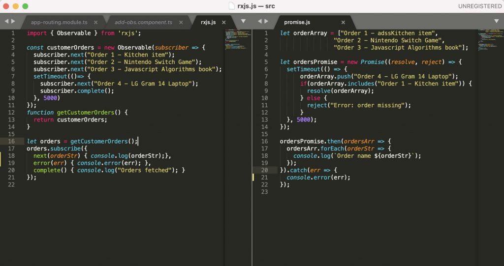 Source code for RxJS Observable vs Javascript Promise.